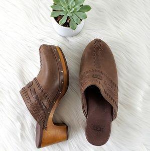 NWOT UGG Australia Wooden Clog Slide Shoes SZ 7